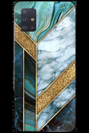Golden teal blue marble