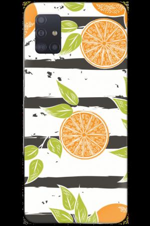Oranges on stripes