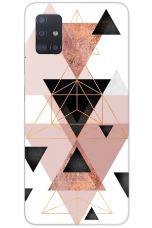 Triangle rose gold pink marble