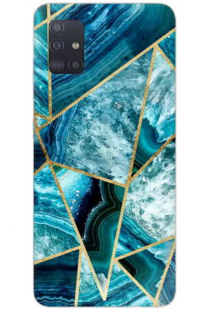 Turquoise Navy Blue marble