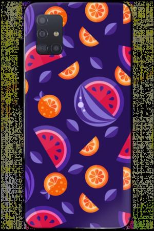 purple melons oranges